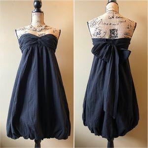 Trina Turk bubble hem black cotton eyelet dress